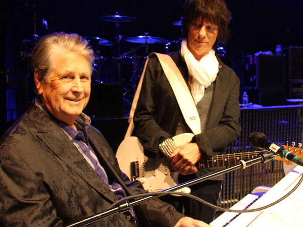 Brian Wilson (left) and Jeff Beck will share a bill at the Tower Theater on Sunday.