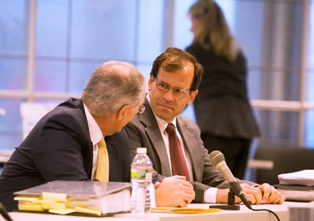 Dr. Steven Brigham, right, confers with his attorney, Joseph Gorrell<br />before his hearing Wednesday at the NJ Board of Medical Examiners, his attorney, Joseph Gorrell is seated on left. (Ed Hille/Staff<br />Photographer)
