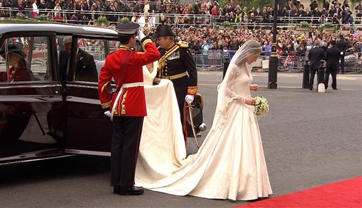 In this image taken from video, Kate Middleton arrives at Westminster Abbey for the Royal Wedding in London on Friday, April, 29, 2011. (AP Photo/APTN) EDITORIAL USE ONLY NO ARCHIVE PHOTO TO BE USED SOLELY TO ILLUSTRATE NEWS REPORTING OR. COMMENTARY ON THE FACTS OR EVENTS DEPICTED IN THIS IMAGE