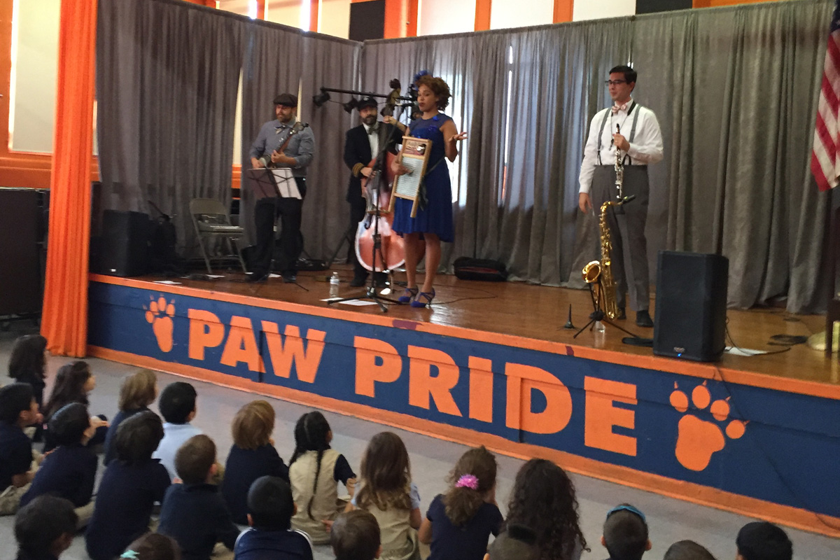 Jazzy Ash & the Leaping Lizards spoke and performed for students at the Andrew Jackson School in Philadelphia earlier this week as part of the Listen to Your Buds campaign.