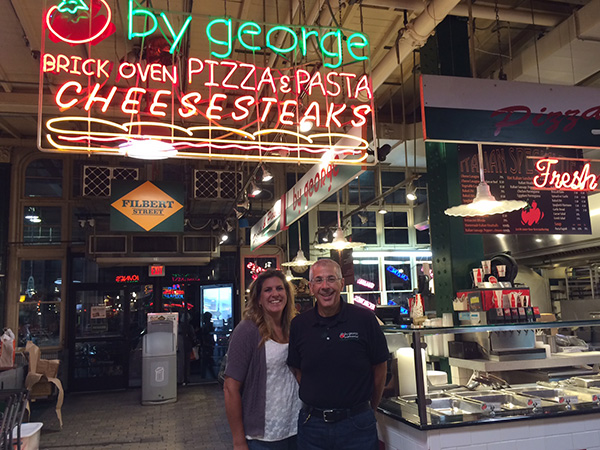 Kim and George Mickel at By George! in Reading Terminal Market.