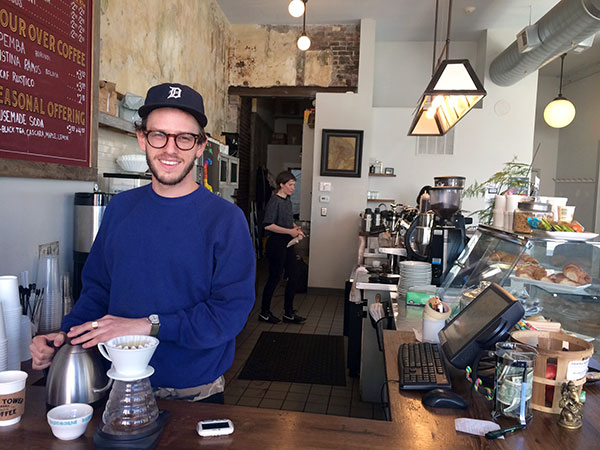 Jonathon Zilber, manager at Shot Tower Coffee in Queen Village.