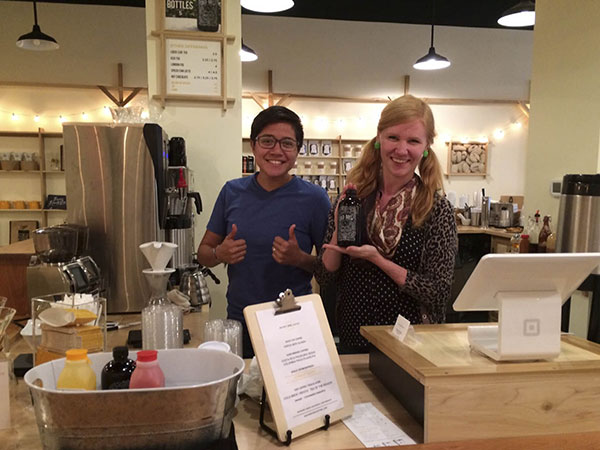 Baristas Ammi Cabrera and Linda Wolfe at Square One Coffee.