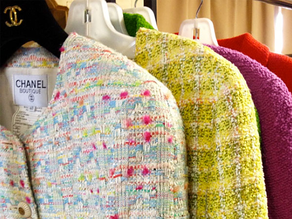 Rainbow-colored Chanel fantasy tweed jackets.