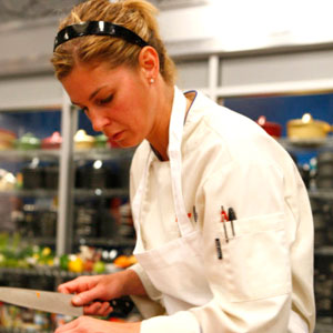 "Jen Carroll cooking on ""Top Chef"""