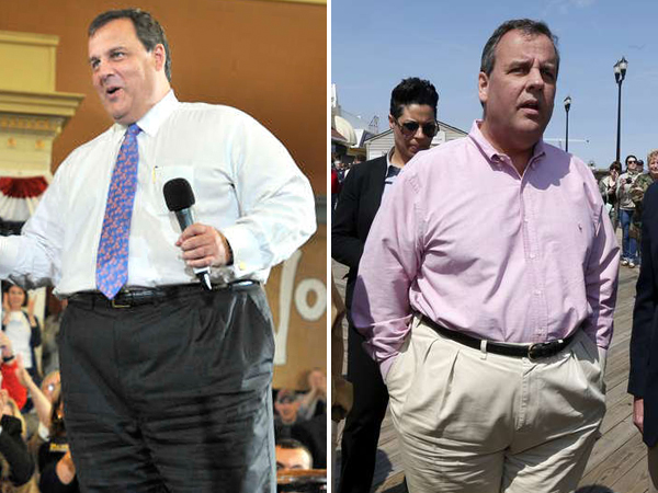 BEFORE: Gov. Chris Christie, a Republican, right, during a campaign stop in Melrose, Mass., Sunday, Oct. 24, 2010. NOW: Christie, in Seaside Heights, Friday, April 25, 2014. (Left: AP; Right: AP)
