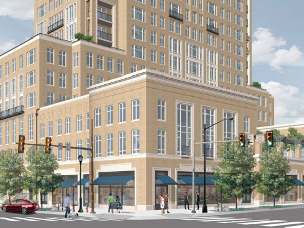 A rendering of the northwest view of a residential and retail tower proposed by the Church of Jesus Christ of Latter-Day Saints at 1601 Vine Street. (Via PlanPhilly)