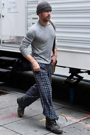 "Colin Farrell in pajamas leaving his trailer around 17tth and Chestnut on the set of  ""Dead Man Down"" in May 2012. Photo: Paul J. Froggatt."