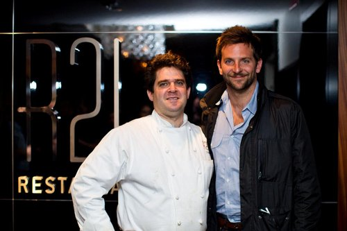 R2L Chef/Owner Daniel Stern with Bradley Cooper <br />Photo: Shea Roggio