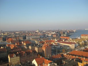 A view of Copenhagen from atop Vor Frelsers Kirke (Our Savior´s Church). (Photo by Michael Yudell)