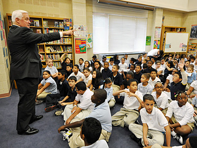 2011 file photo: Gov. Corbett, before announcing his school-voucher plan, answers students' questions at Lincoln Charter School. (AP)<br />
