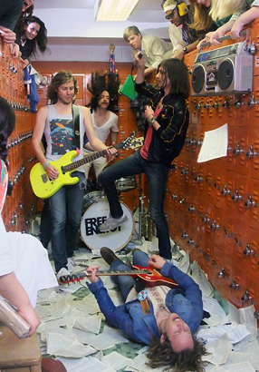 "Free Energy at a video shoot for ""Bang Pop"" staged in April at Pennwood Middle School. The band's promotional effort was cost-efficient, boosted by lots of free volunteer labor."