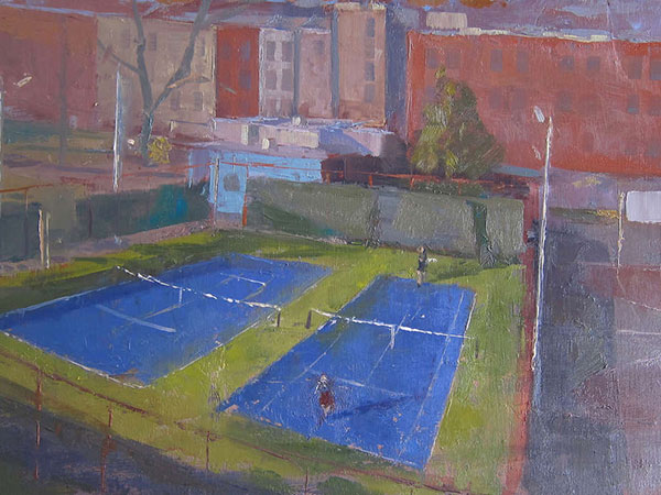 """""""Seder Park Tennis Courts"""" by Charles Newman, on display in the Philadelphia Sketch Club´s 151st exhibition of small oil paintings."""