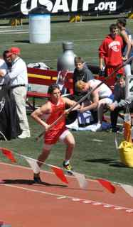 Michael Rivard takes 9th place in Penn Relays 2010 pole vault with a  height 14.325 feet.