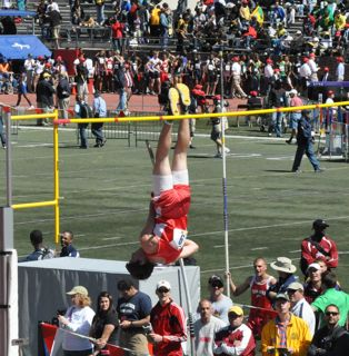 Michael Rivard takes 9th place in Penn Relays 2010 pole vault event with a height of 14.325 feet.