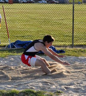 SJTCA individual track meet.  Michael Rivard takes 4th place in triple jump with 42 feet, 9 1/2 inches.