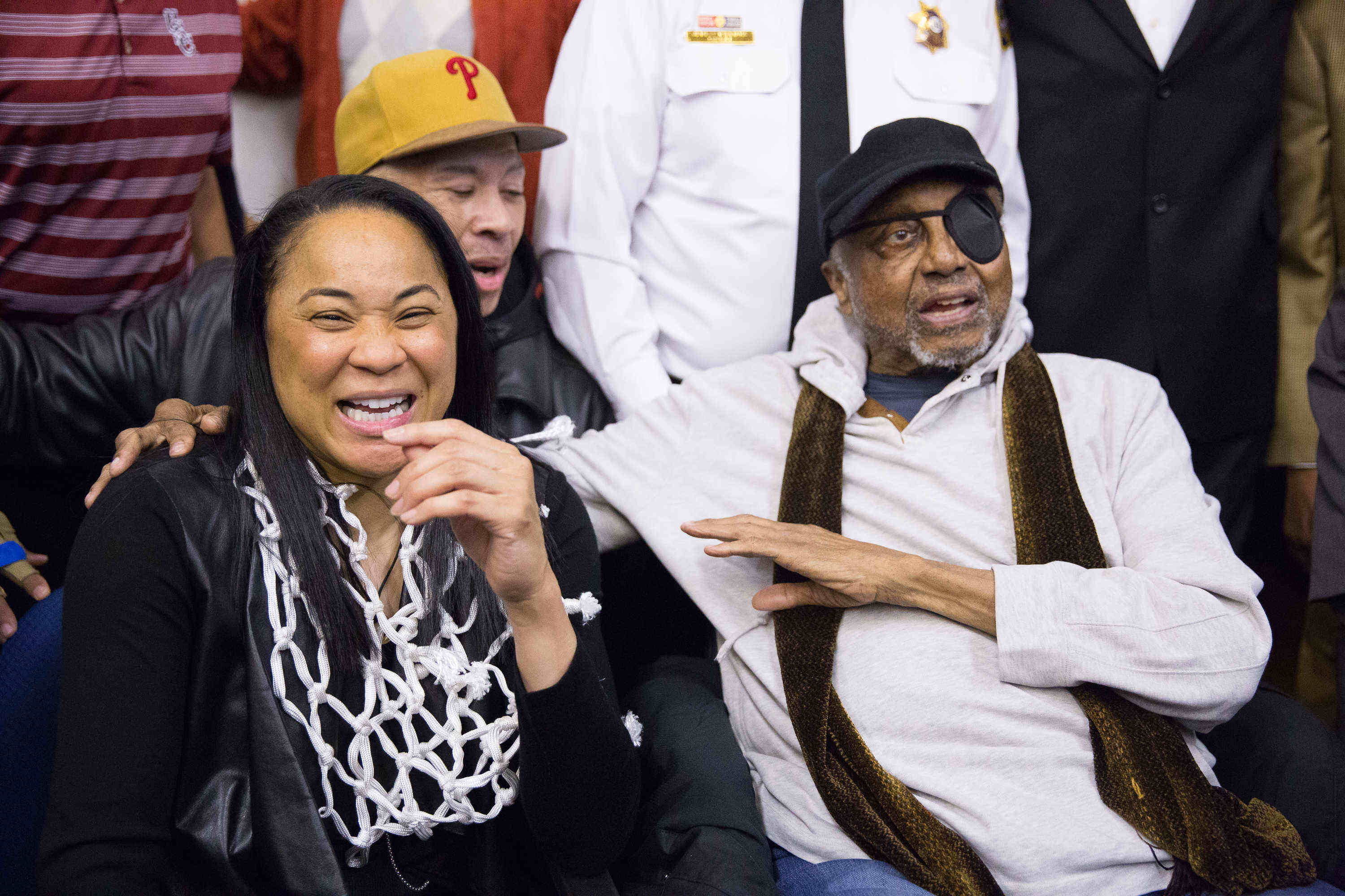Dawn Staley (left) with John Chaney at Dobbins High School in April for an assembly honoring Staley for winning the NCAA championship with the South Carolina women´s team.