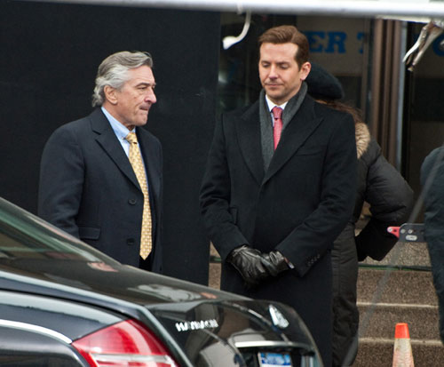 "Robert De Niro and Bradley Cooper on the set of ""Limitless."" Photo: Paul J. Froggatt"