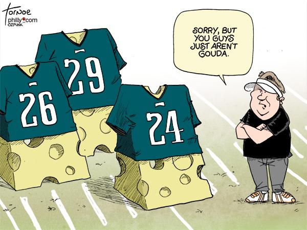 Chip Kelly Eagles defense Tornoe sports cartoon