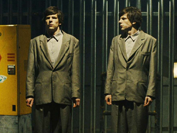 "One is not like the other: Jesse Eisenberg and Jesse Eisenberg in ""The Double."""