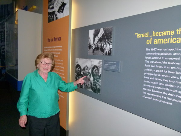 Dr. Ruth Westheimer stands in front of the Six Day War exhibit at the National Musuem of American Jewish History. Photo: Ilana Blumenthal