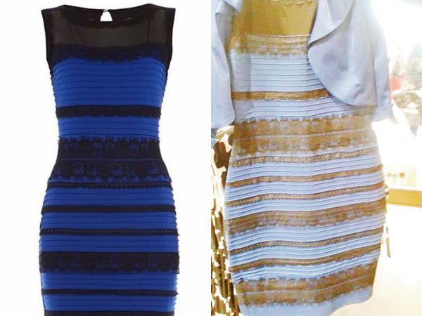 What color is this dress? Under some light it looks black and blue (left) or gold and white (right).