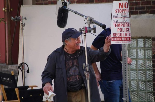 "Richard Dreyfuss on the set of ""Paranoia"" at 10th & Carpenter Tuesday morning."
