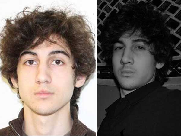 Photos of Boston Marathon bombing suspect Dzhokhar Tsarnaev from the FBI (left) and a Russian social-networking site.