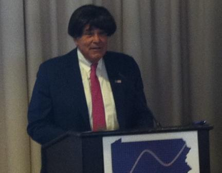 Former Gov. Ed Rendell dons a wig to make a point at the PA Budget and Policy Center fundraiser.