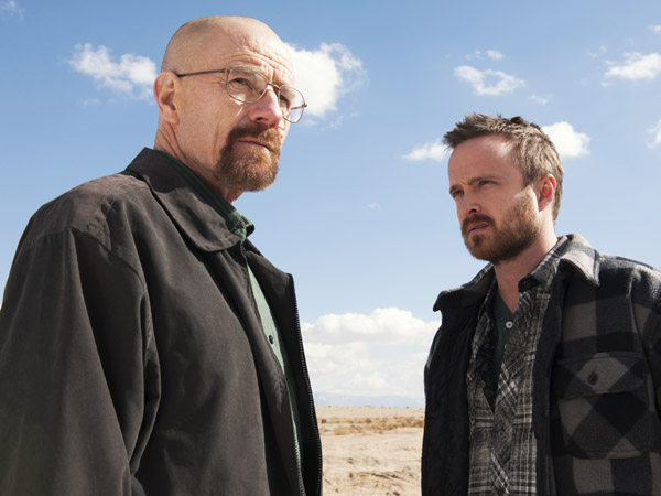 "Bryan Cranston as Walter White, left, and Aaron Paul as Jesse Pinkman in a scene from ""Breaking Bad."" (AP Photo/AMC, Frank Ockenfels )"