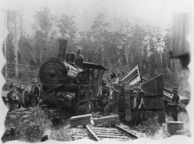 "Someone probably ended up with ""Railway spine"" after this 1914 collision between a trolley and a locomotive at Eudlo, Australia. (John Oxley Library, State Library of Queensland)"