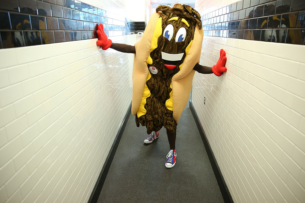 "Philadelphia Cheesesteak Festival mascot ""Cheesy"" visiting Steve´s Prince of Steaks in Center City on October 8, 2015, before the event."