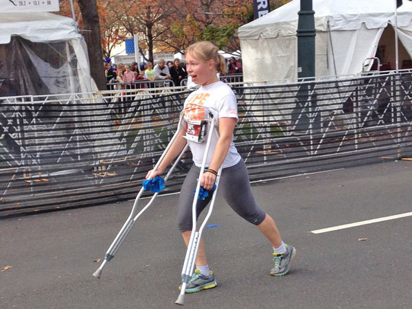 Kate Thompson, originally from Doylestown and currently a senior at Penn State University, completed the full 13.1-mile half-marathon on crutches.