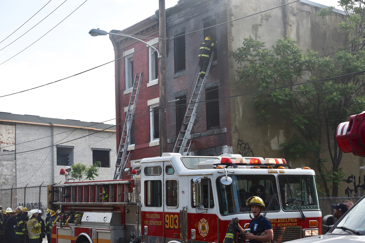 Fire crews put out a fatal blaze in North Philadelphia Sunday morning.