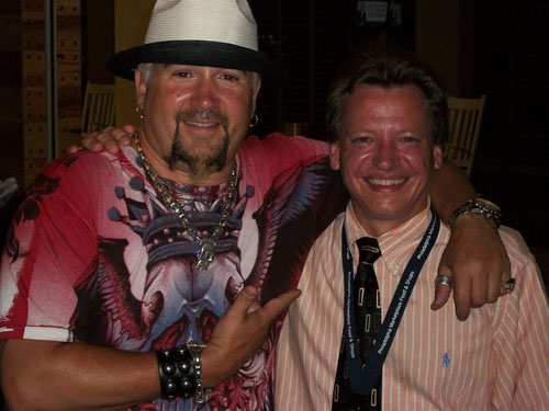 Guy Fieri with Legal Sea Foods manager Jefferson Channell.