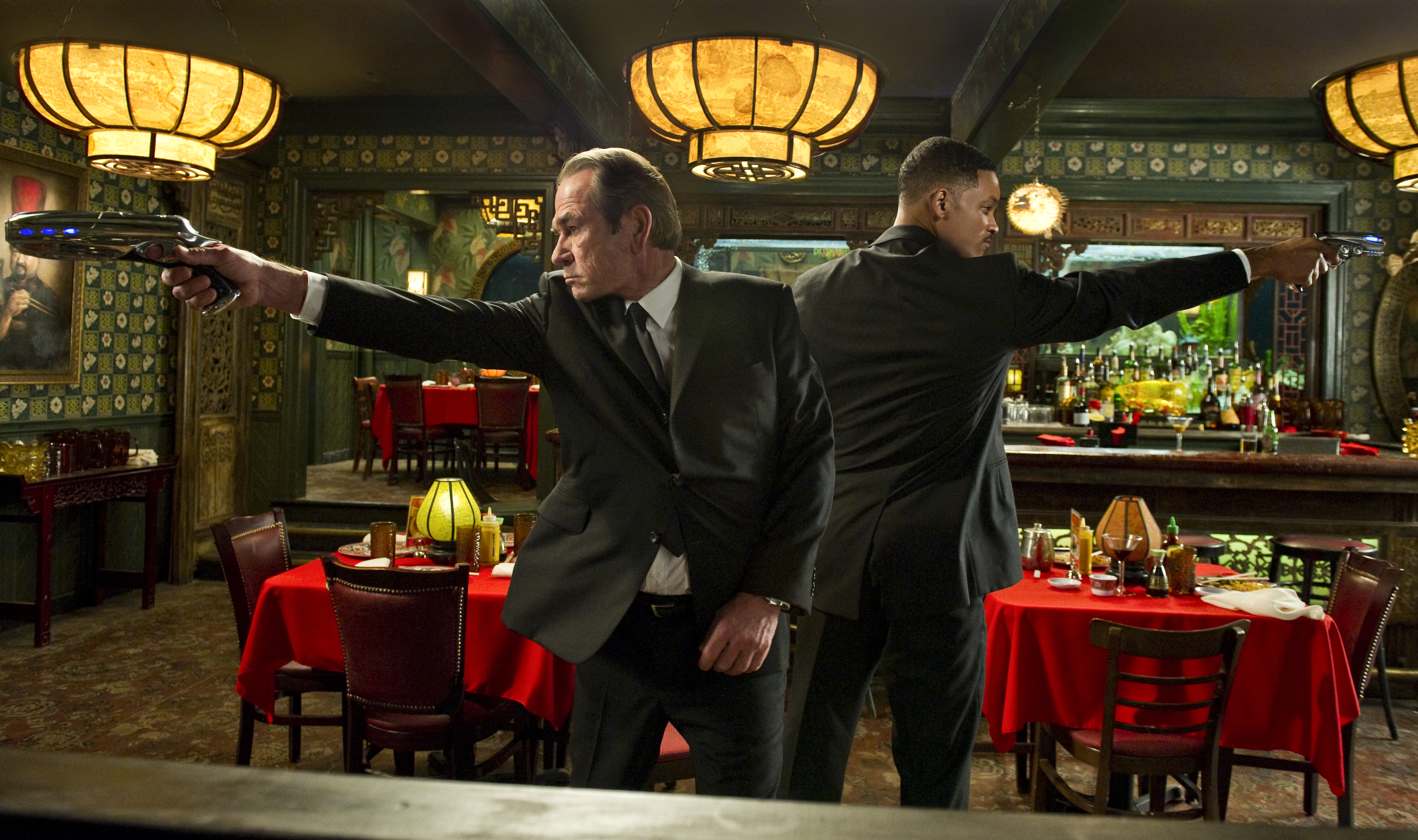 "In this film image released by Sony Pictures, Tommy Lee Jones, left, and Will Smith star are shown in a scene from ""Men in Black 3."" (AP Photo/Columbia Pictures-Sony, Wilson Webb)"