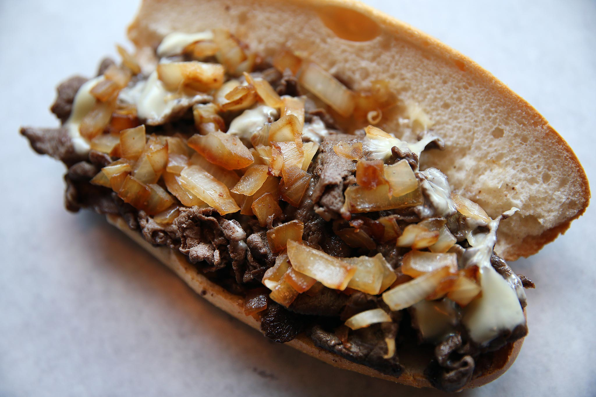 A classic cheese steak sits on a table inside Joe´s Steaks at 1 W. Girard Avenue.