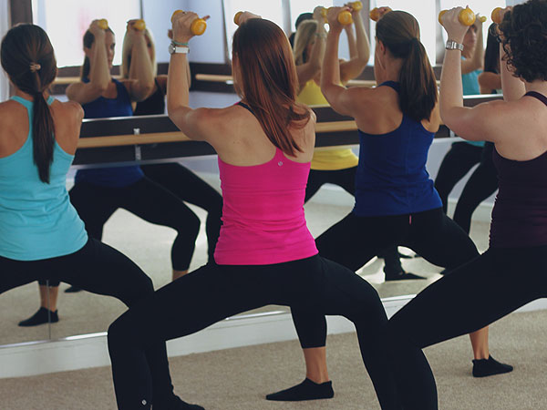 A scene from Jill MacHose´s barre class at Focus Barre and Yoga.