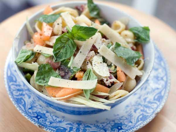 Prosciutto, cantaloupe, and orecchiette salad. (AP Photo/Matthew Mead)