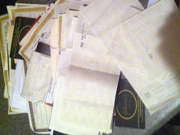 Pile of Gilmore´s gift certificates from restaurateur John Brandt-Lee´s desk.