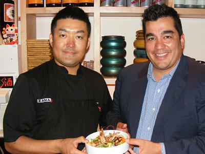 "Chefs Hiroyuki ""Zama"" Tanaka (left) and Jose Garces with Garces Chirashi, a Japanese paella."