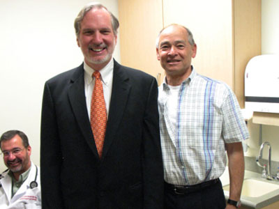 Elliot Gordon with the guy who saved his life, Dr. Joe Bavaria (right).