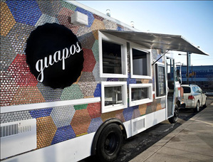 Guapos Tacos truck parked outside JG Domestic, Feb. 16, 2011. (Photo: Michael Persico)