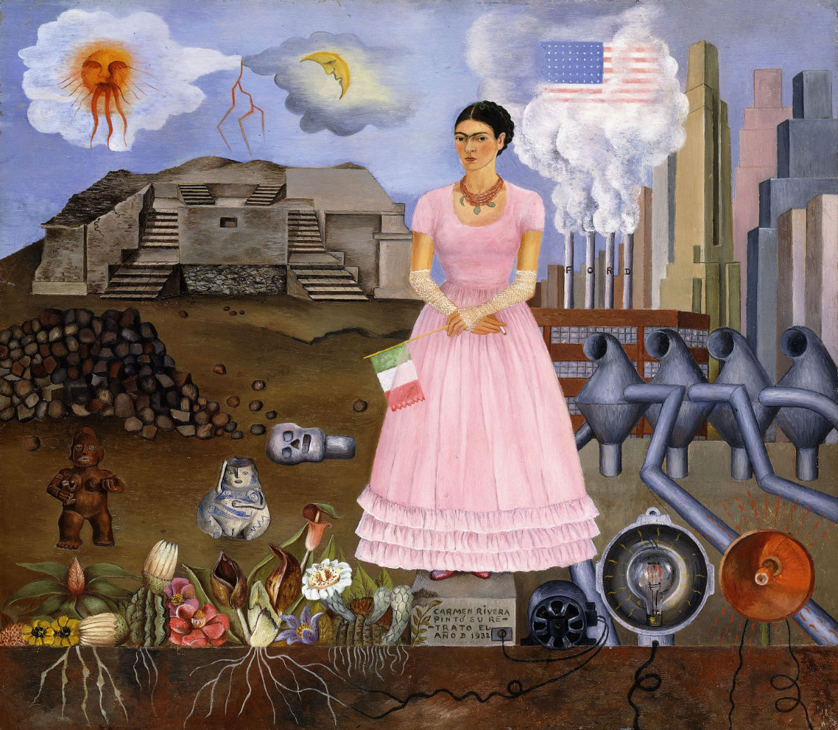 """""""Self Portrait on the Border between Mexico and the United States of America, 1932 (oil on tin) by Frida Kahlo. Private Collection. This work is included in the new exhibit at the Philadelphia Museum of Art, """"Paint the Revolution: Mexican Modernism 1910-1950."""""""