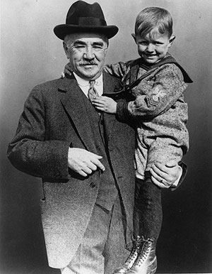 Milton Hershey with one of his students at the Milton Hershey School. (Hershey Food Corp. Public Relations Office, undated photo)