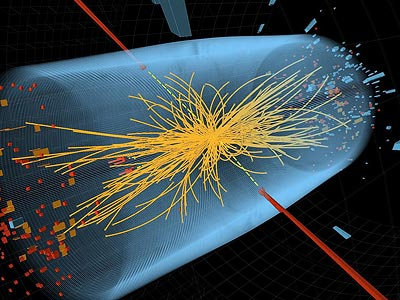 """To cheers and standing ovations, scientists at the world´s biggest atom smasher claimed the discovery of a new subatomic particle Wednesday July 4, 2012, calling it """"consistent"""" with the long-sought Higgs boson — popularly known as the """"God particle"""" — that helps explain what gives all matter in the universe size and shape. (AP Photo/CERN)"""
