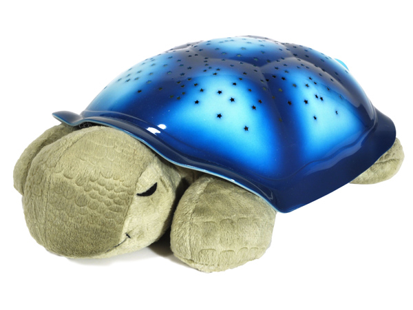This photo provided by Cloud b shows their Twilight Turtle pillow available on Cloudb.com, which lights up the ceiling with a starry pattern. Parents can download lullabies and stream them through the turtle via Bluetooth technology. (AP Photo/Cloud b)