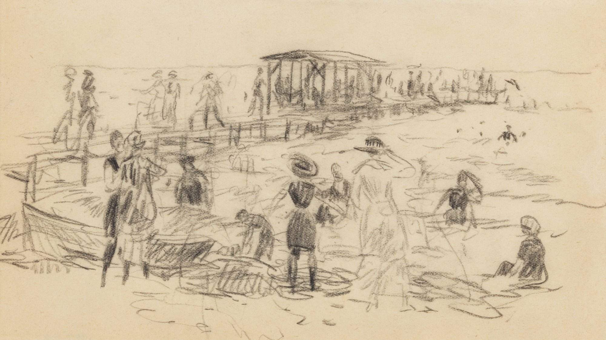 William J. Glackens (1870-1938). At the Beach; Bellport, Long Island, 1916. At the Beach; Bellport, Long Island; 4 5/8 x 8 1/4 in. Gift of Ira Glackens, the artist's son, 1957.26. Pennsylvania Academy of the Fine Arts