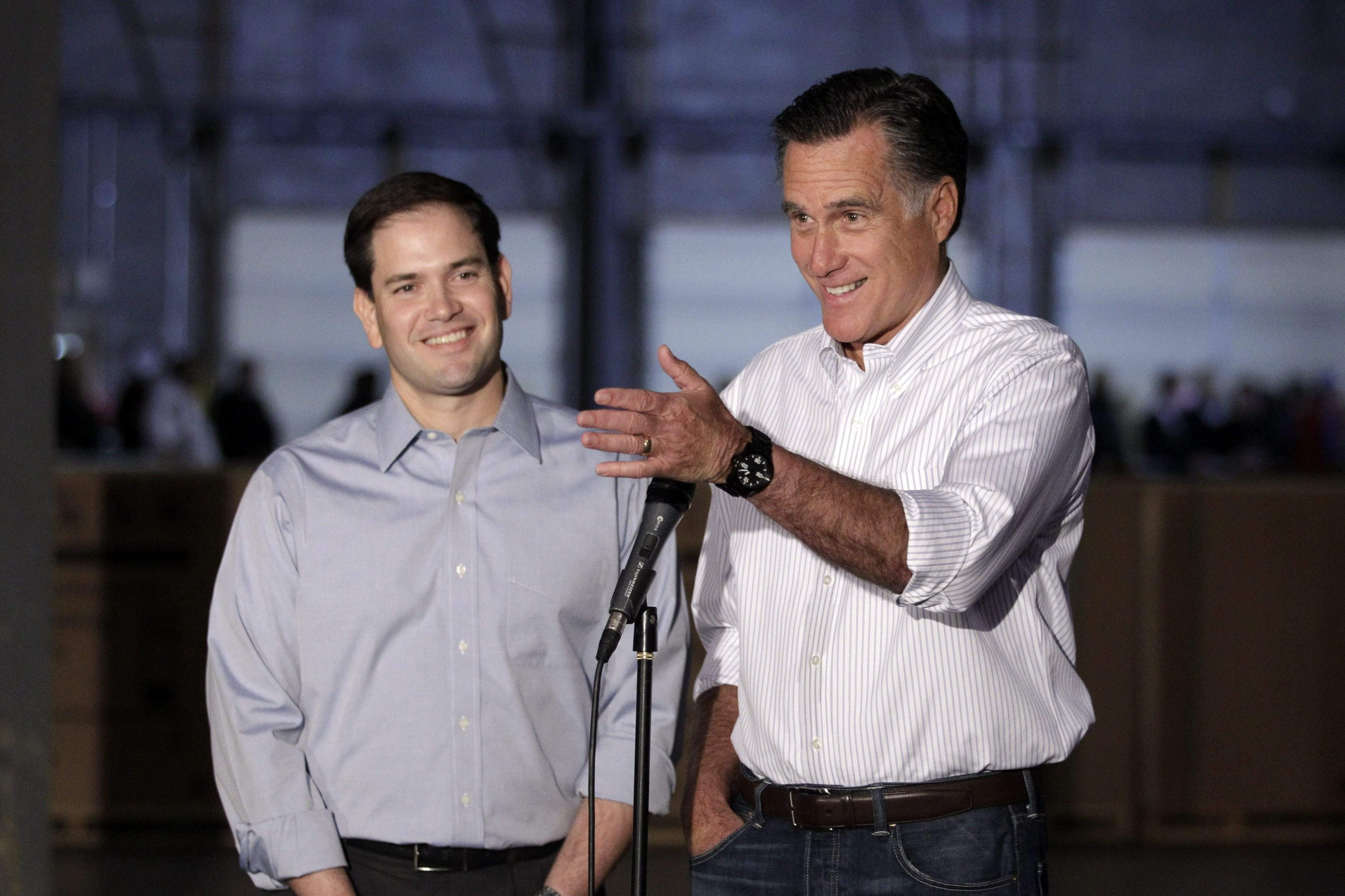 Mitt Romney was accompanied by Sen. Marco Rubio (left) on a campaign visit to Pennsylvania. That fueled vice presidential buzz about the Floridian. Jae C. Hong / Associated Press