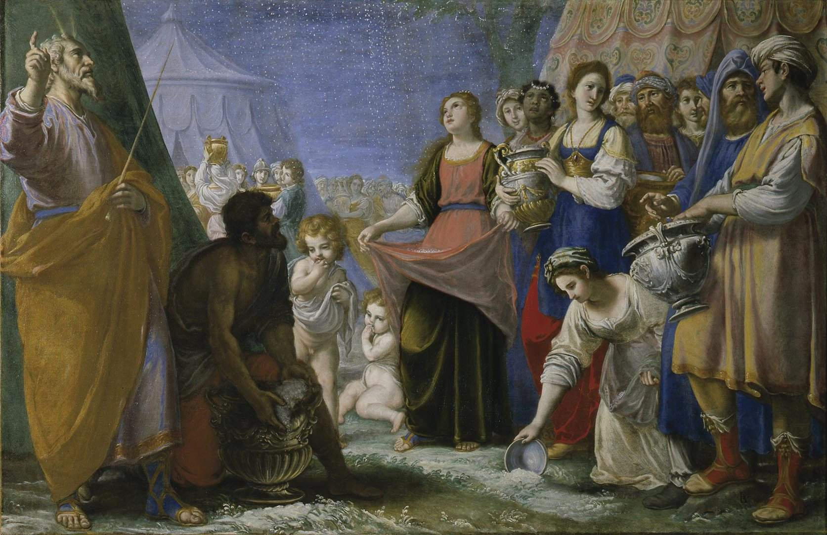 Fabrizio Boschi (Florence 1572-1642), The Miracle of the Manna, circa 1594-1597, oil on canvas, H.56.7 x W.90.2 inches, Collection of the Uffizi Gallery, Florence, Italy.